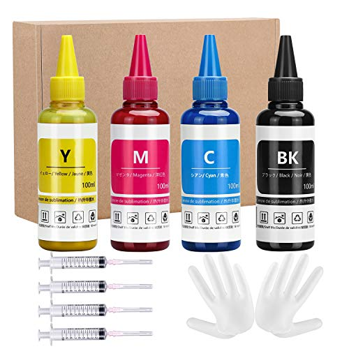 Xcinkjet Sublimation Ink Refilled for Epson C88 C88+ WF7720 ET2720 WF7710 ET2650 ET2750 WF2750 WF3620 Printer(1Black 1Cyan 1Magenta 1Yellow,4-Pack)