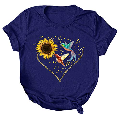 T-Shirt Damen Kurzarm Sommer Oberteile Modus Schön Sonnenblumen Kolibri Muster Drucken Kurzarm T-Shirts Lässig Gemütlich Lose Rundhals Basic Shirt T-Shirts Hemd Bluse Tunika für Teenager Mädchen