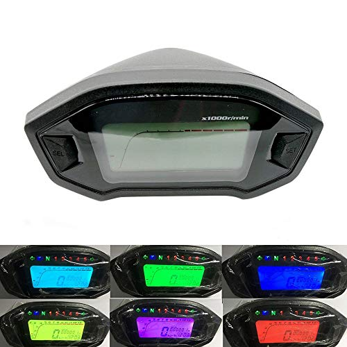XIAOLUTIANM Medidor de velocímetro Pantalla LCD Digital Light Motocicleta Velocímetro de 7 Colores odómetro tacómetro Velocidad del Sensor del Nivel de Aceite del medidor Moderno