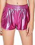 SweatyRocks Women's Yoga Hot Shorts Shiny Metallic Pants Fuchia Red M