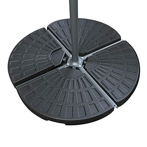 Greenbay Set of 4 Sector Black Parasol Base Stand Weight For Cantilever & Banana Hanging Umbrellas