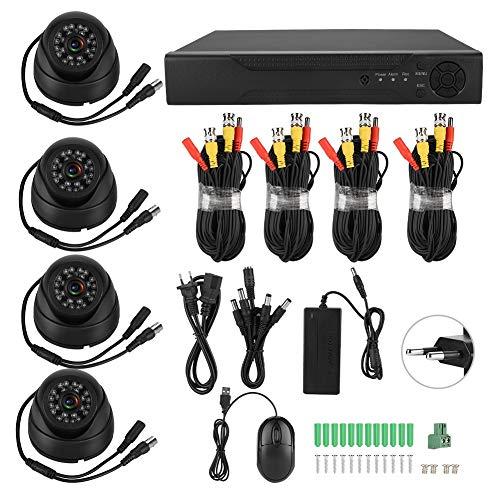 Deror 720P 4CH Coaxial AHD Video de vigilancia 5-en-1 Kit de cámara de Seguridad HD 100W Pixeles(Regulaciones Europeas (100-240v))