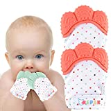 NEPAK Teething Mitten 2 Pairs-Baby Glove Stimulating Teether Toys for Boys & Girls-Teething Glove for Child (Coral and Mint Colours)