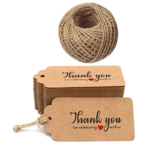 Thank You for Celebrating with US,Personalized Kraft Paper Tags,100PCS Brown Tags Perfect for Baby Shower, Wedding and Party Favor