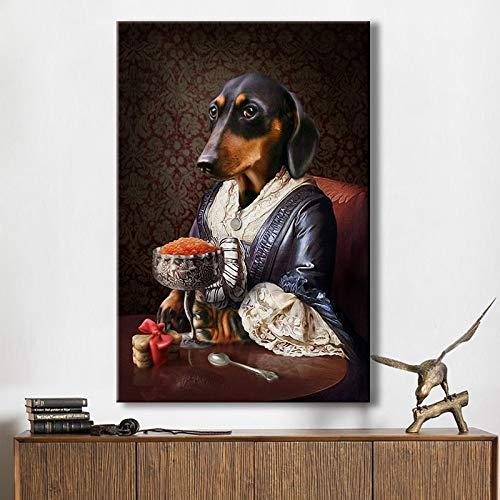 wtnhz Kein Rahmen Vintage Classy Dog Imitieren Sie Wandkunst Poster Drucke Tier tragen Mantel Leinwand Malerei Wandbild für Wohnzimmer Dekor