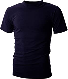 UUANG Men's Mockneck Short Sleeve T-Shirt Classic Casual Summer Pullover Basic Tops