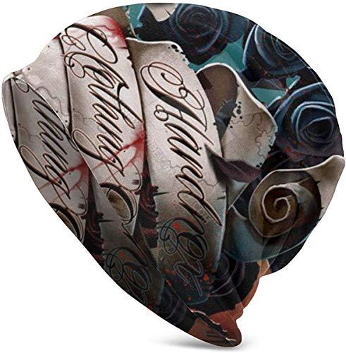Mxung Skull Banner Roses Casual Unisex Print Knit Beanie Sombreros Winter Keep Warm Skullies Gorras