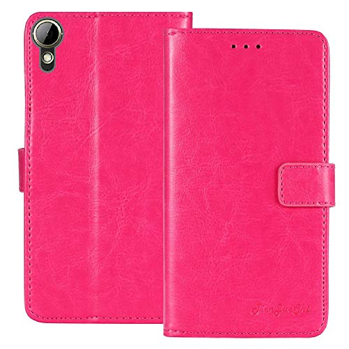 TienJueShi Rosa Flip Book-Style Brief Leder Tasche Schutz Hulle Handy Hülle Abdeckung Fall Wallet Cover Etui TPU Silikon Fur HTC Desire 10 Life Style 5.5 inch