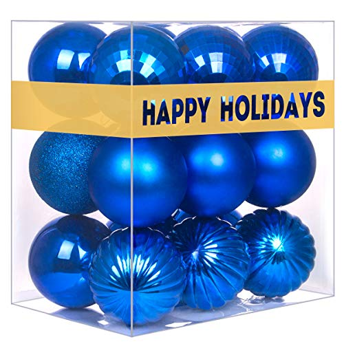 """GameXcel 18Pcs Christmas Balls Ornaments for Xmas Tree - Shatterproof Christmas Tree Decorations Large Hanging Ball Blue 2.5"""" x 18 Pack"""
