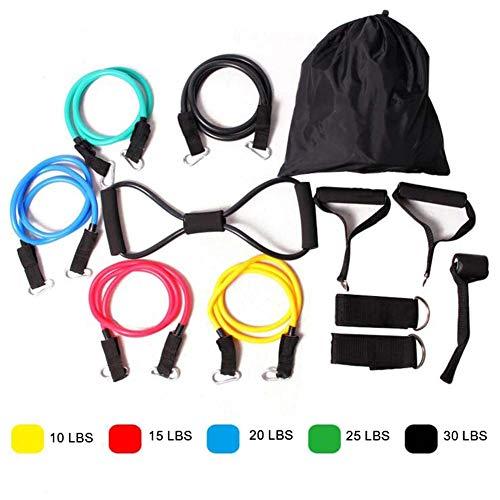 HSY SHOP 12 STKS Resistance Bands Set, 5 oefenbanden, fitnessbanden, handgrepen, deurankers, enkelbanden, beschermende buizen voor krachttraining, fysiotherapie, thuissportscholen