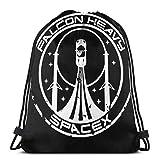 ewretery Bolsas con cordón Falcon Heavy Spacex Unisex Mochila con cordón, bolsa de deporte, bolsa grande con cordón, mochila de gimnasio a granel
