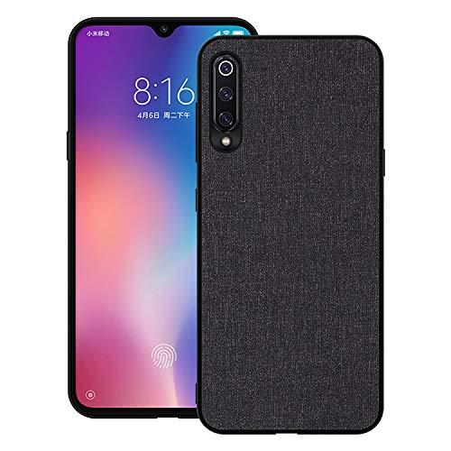 Aidinar Xiaomi Mi 9 SE Hülle, Handy Hülle mit Stoff-Rückdeckel All-Inclusive Bruchsicherer Hartschalen-Silikon Soft Edge Hülle für Xiaomi Mi 9 SE(Schwarz)