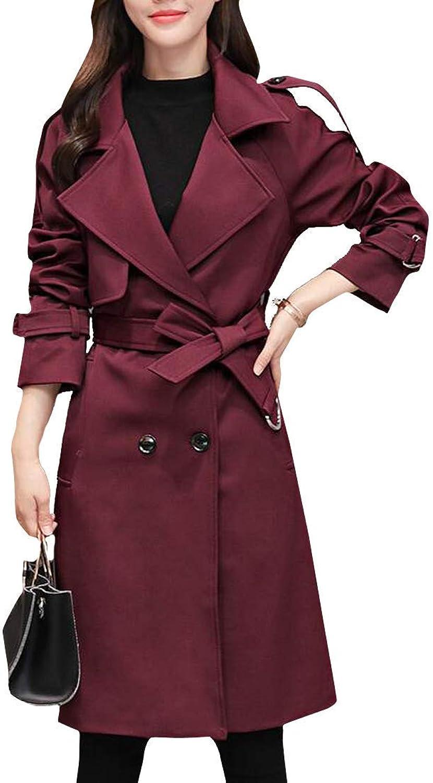 Joe Wenko Women's Slim Outwear Double Breasted Overcoat Fashion MidLong Trench Coat
