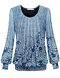 BAISHENGGT Damen Langarmshirt Rundhals Falten Shirt Stretch Tunika Hell-Blau M