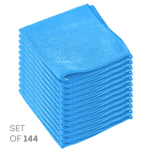 Super Soft Microfiber Cleaning Cloth - Set of 144 Orange Washcloths - 12 x 12 Inches - By Etienne Alair