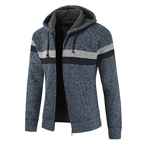 Cárdigan de suéter para Hombre, Color a Juego en otoño e Invierno, más Chaqueta de suéter con Capucha y cordón Grueso de Terciopelo, suéter Informal cálido XL