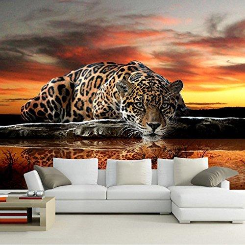muurschilderingen, behang, MuralCustom foto behang 3D stereoscopische dier luipaard muurschildering behang woonkamer slaapkamer bank achtergrond muurschilderingen behang 100x100cm