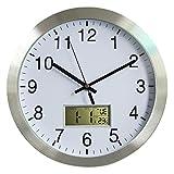 Vicoki Horloge Murale Radio-pilotée silencieuse en Aluminium avec mécanisme de Chasse d'eau Silencieux, 30 cm (Ø), Aluminium,...