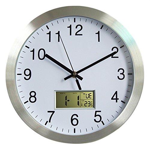 Lommer Funkuhr Wanduhr, 30CM Radio Controlled Modern Bürouhr Funk Wanduhr mit Thermometer und Datum, Wetterstation für Zuhause/Büro Dekoration/Geschenk, Uhr