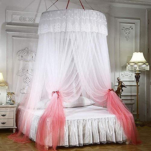 Klamboe, Dome Lace Bed Canopy for tweepersoonsbed en een eenpersoonsbed, Soft Bed Nent 360 deg;Full Coverage Protection, Oversized meerdere kleuren om uit te kiezen, Blue dmqpp (Color : Orange)