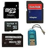 Sandisk 16GB Micro SD Memory Card + MiniSD, SD & Memory...