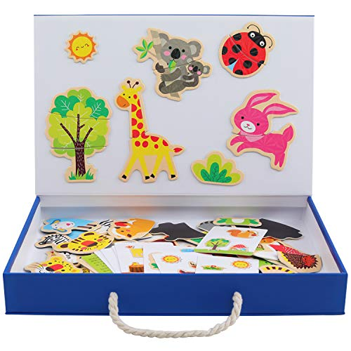 QZMTOY Magnetic Puzzles Art Animals Wooden Puzzles Game to Toddlers Drawing Board Jigsaw Puzzle Set- Learning & Educational Game Toy for Kids Age 3+