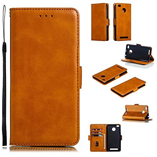 Funda protectora Cartera de teléfono para Xiaomi Redmi 3S / 3 / 3Pro, Vintage Premium PU Funda de billetera de cuero con soporte de la tarjeta de la correa de la muñeca de Kickstero TPU Tapa magnética