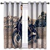 SSKJTC Cortinas para sala de estar, sin tiempo para morir 007, obras de arte, retro, para montar en motocicleta, Triumph Scrambler, cortinas opacas para habitación de niños (106 x 137 cm)