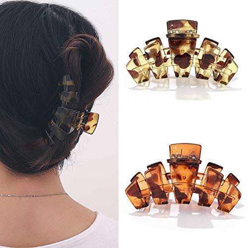 Runmi Haarklammern, Schildpatt-Haarspangen, mittelgroß, Haar-Accessoires für Damen und Mädchen (2 Stück)