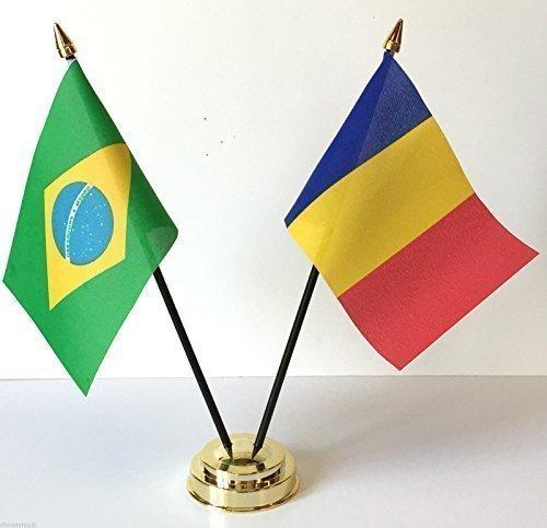 Rio Olympische Spelen 2016 Brazilië & Tsjaad Vriendschap Tafel Vlag Set + Base