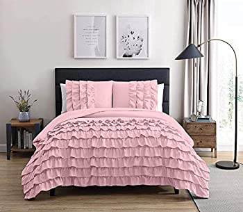 Chezmoi Collection Ella 3-Piece Waterfall Ruffle Comforter Set  King Pink