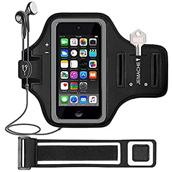 iPod Touch 7th/6th/5th Generation Armband JEMACHE Gym Running Exercises Workouts Sport Arm Band Case for iPod Touch 7/6/5/4 Generation with Card/Key Holder  Black