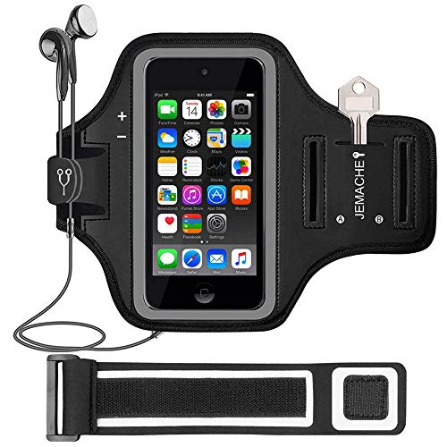 iPod Touch 7th/6th/5th Generation Armband. JEMACHE Gym Running Exercises Workouts Sport Arm Band Case for iPod Touch 7/6/5/4 Generation with Card/Key Holder (Black)