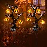 Brwoynn Solar Halloween Yard Decorations, Outdoor LED Solar Powered Pumpkin Tree Halloween Pathway Lights, Metal Garden Stakes Lawn Yard Ornament, Set of 2