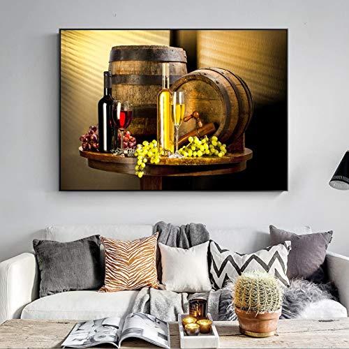 Impresiones en lienzo Arte de la pared de uva Impresiones en lienzo Uva Vino Lienzo Pinturas artísticas en la pared Cuadros decorativos Cocina mural-60x80cm Sin marco