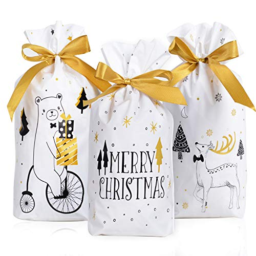 30 Bolsas Regalos Navidad 23 x 15cm Bolsa Navideñas con Cordón Plástico Decoración Fiesta Caramelos Dulce Chuches Galletas