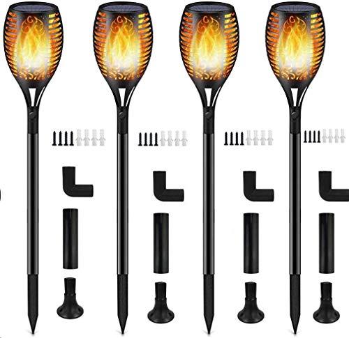 Luces Antorchas Solares, Luces Solar Jardín Exterior Antorcha con Llamas 96 LED Impermeable IP65, Al Aire Libre Paisaje Decoración Iluminación, ON/OFF Automático para Patio Jardín Camino (4 piezas)