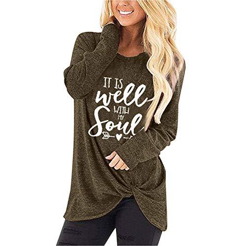 Zarupeng dames brief print blouse ronde hals lange mouwen T-shirt losse casual sport lange mouwen jumper tuniek sweatshirt