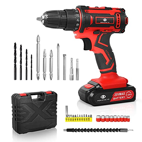 MOKENEYE 20V Cordless Drill Driver Kit, Power Drill with 32 Pcs Accessories, 2.0Ah Li-Ion Battery, 25+2 Position, Variable Speed, 320 In-lbs Torque, 3/8 Inch Keyless Chuck, Built-in LED Light