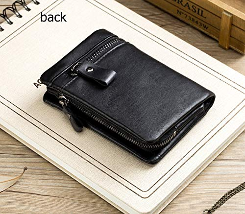 BULLCAPTAIN Men Leather Wallet RFID Blocking Bifold Wallet with 2 ID Window Zipper Coin Purse 3