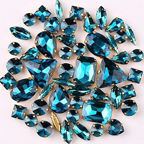 Modis Garra de oro ajuste 50 unids/bolsa formas mezcla claro caramelo AB cristal coser en diamantes de imitación vestido de boda zapatos bolsas diy trim