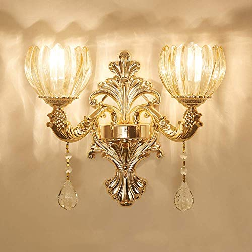 Lámpara de Pared, Lámpara de pared de cristal europea creativa Sala de estar cálida TV Fondo Pared Dormitorio Cama Cabeza individual Doble cabeza Aleación de zinc Lámpara de pared simple