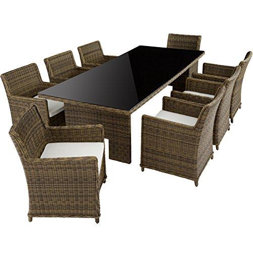 TecTake hoogwaardige luxe aluminium poly rotan tuin eettafel roestvrij | 8 stoelen + tafel met glasplaat (255x109cm) | natuur bruin Zitgroep 8+1 | Nr. 402223