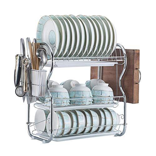 3 niveles de secado Estante for Platos, de instalación sencilla antideslizante Tazón Copa Cubiertos Escurridor titular con los palillos Tabla de cortar de rack, Mueble de cocina utensilios Organizador