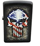 Zippo Custom American Flag Punisher Punisher Skull Lighter - Matte Black