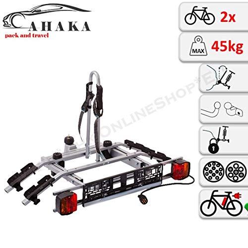 AHAKA Fahrradträger Anhängerkupplung für 2 Fahrräder Heckträger AHK Fahrradheckträger - klappbar mit Schnellkupplung