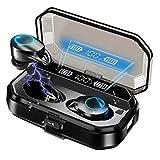Écouteurs Bluetooth, Casque sans Fil Bluetooth 5.0 avec Boîtier De Charge 4000 mAh,Casque Bluetooth Intra-auriculaire Étanche IPX7 avec Lumières LED, Commande Tactile Audio Stéréo 3D
