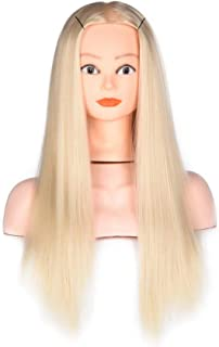 discountstore145 Hairdressing Mannequin Head,Practical Multi-Use Mannequin Head Long Hair Training Mannequin Head Manikin Head Model Wig Hair Glasses Display Stand for Salon Shopping Mall 6#