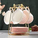 DUJUST Tazze da tè e piattini Set di 4 (235 ml), colore della caramella con finiture dorate, tazze di caffè del bordo del petalo con supporto del metallo, set di tè in porcellana stile semplice - rosa
