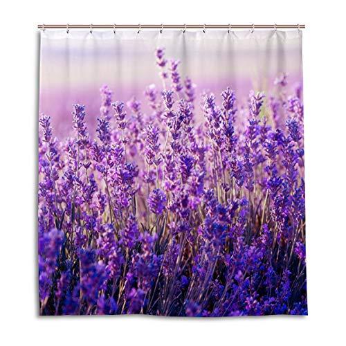 CPYang Duschvorhänge Blumen Blumen Lavendel Muster Wasserdicht Schimmelresistent Badvorhang Badezimmer Home Decor 168 x 182 cm mit 12 Haken